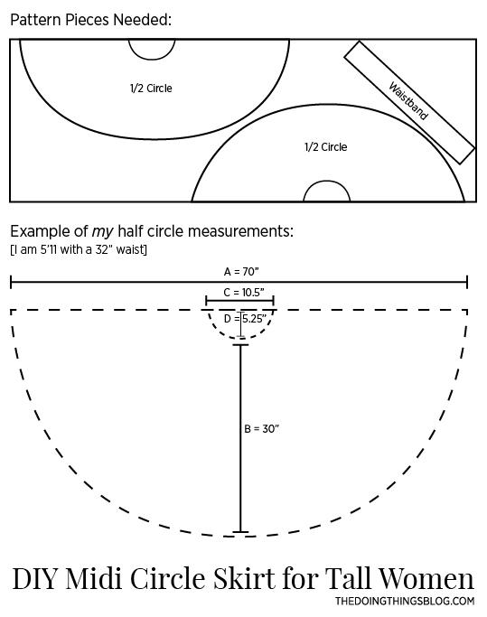 Diy Midi Circle Skirt For Tall Women The Doing Things Blog
