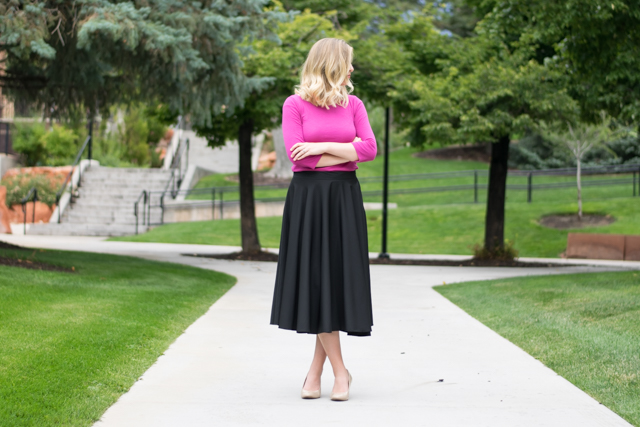 f368096281 DIY Midi Circle Skirt for Tall Women – The Doing Things Blog