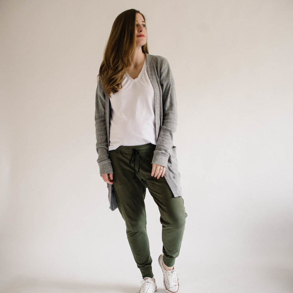 Union St Tee, Blackwood Cardigan, and Hudson Pants